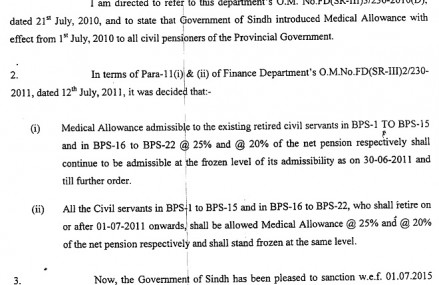 Sindh Govt Notification to Increase in Pension & Medical Allowance of Civil pensioners 2015