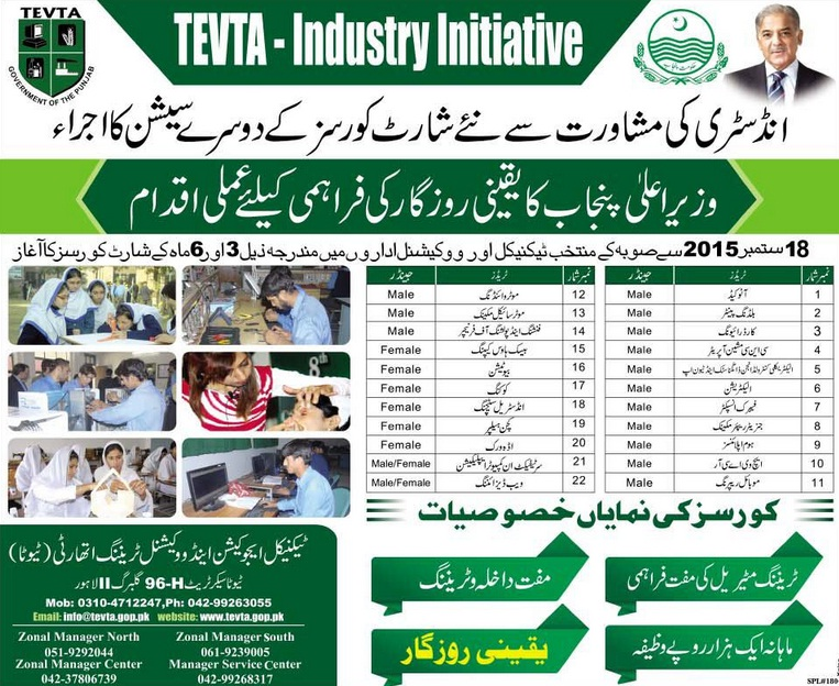 Shahbaz Sharif , TEVTA Short Courses Second Session 2015