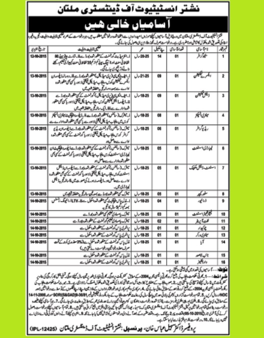 Vacancies in Nishtar Institute of Dentistry Multan