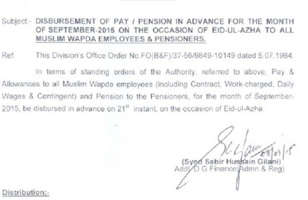 Wapda Notification of Advance Pay and Pension to its Employees on Eid-ul-Azha 2015AD/1436AH