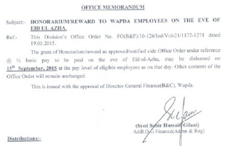 Wapda Notification of Eid ul Azha Reward/Honorarium 2015AD/1436AH