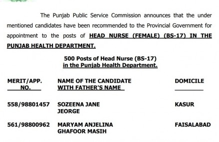 500 Head Nurse Jobs – PPSC Test Result 13-10-2015