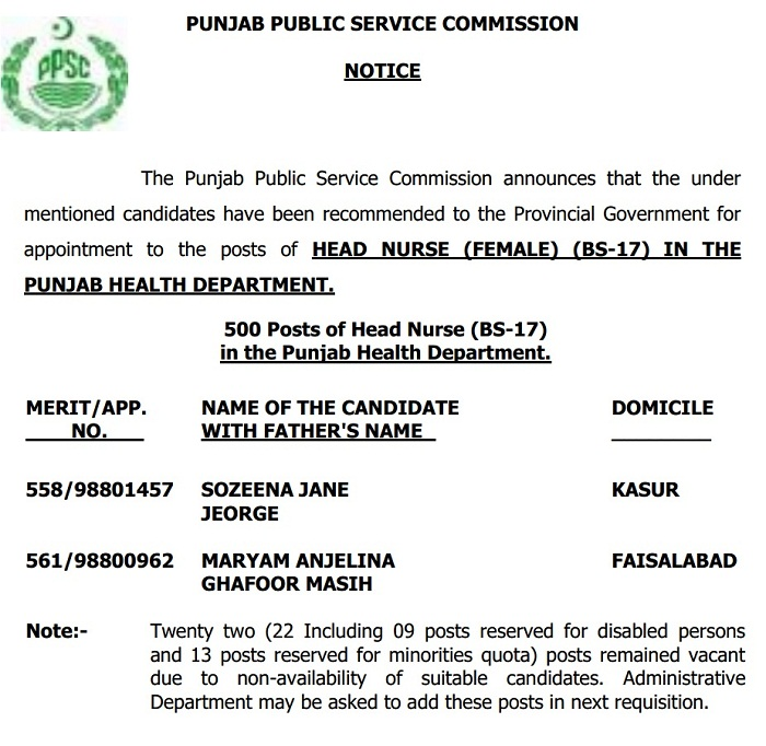 500 Head Nurse Jobs - PPSC Test Result 13-10-2015