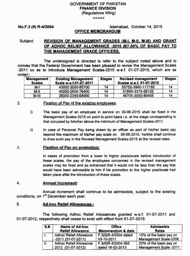 Management Cadre Pay Scales 2015 (Page 1)