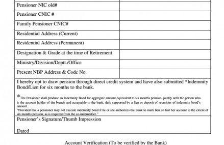 Option Form For Direct Credit of Pension Through Bank Account