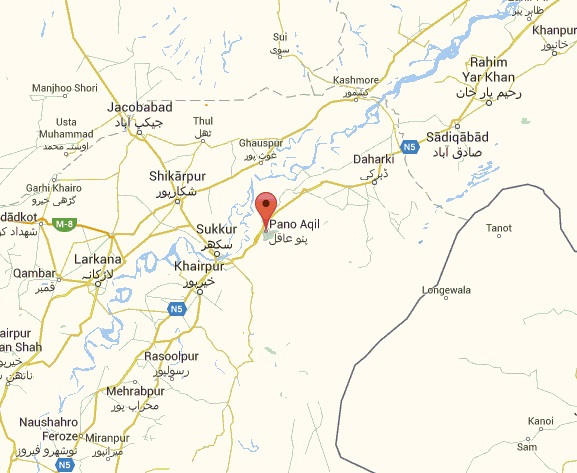 Pano Aqil Cant and city Sindh Location Map Near Sukkur and Dahrki