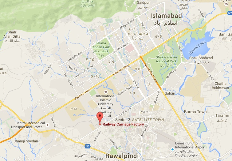Railway Carriage Factory Islamabad - Location Map in I-11 Sector