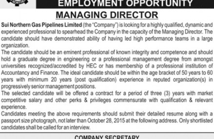 SNGPL Invited Application for Job of MD