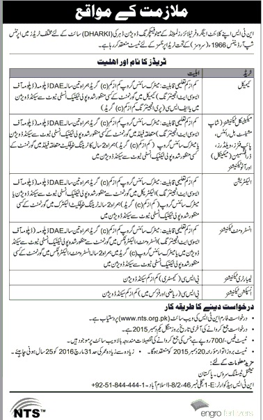 Apprenticeship Training Course in Engro Fertilizers Limited Dharki Through NTS