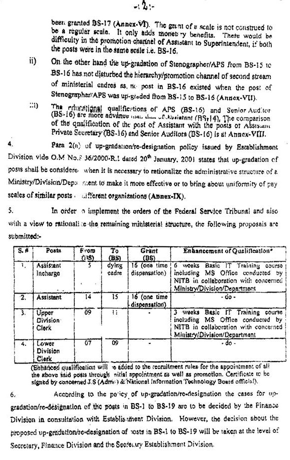 Cabinet Secretariat Summary of Up-Gradation of Miniterial Posts Clerical Staff b