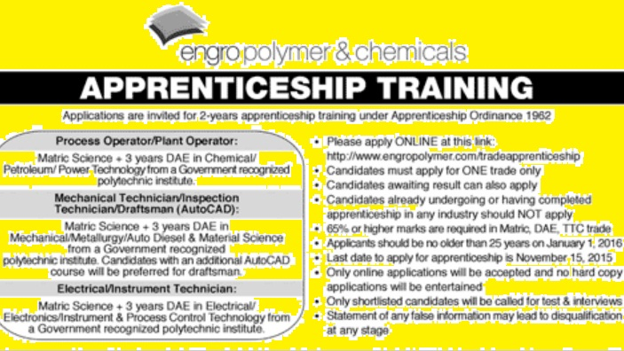 Engro Polymer and Chemicals - Apprenticeship Training 2015