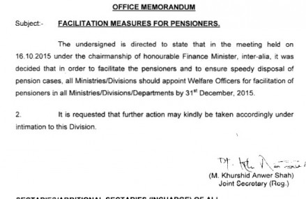Finance Division Ordered Appointment of Welfare Officers for Pensioners Facilitation