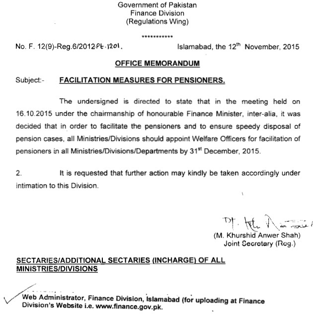 Finane Division Ordered Appointment of Welfare Officers for Pensioners Facilitation in all Ministries and Departments