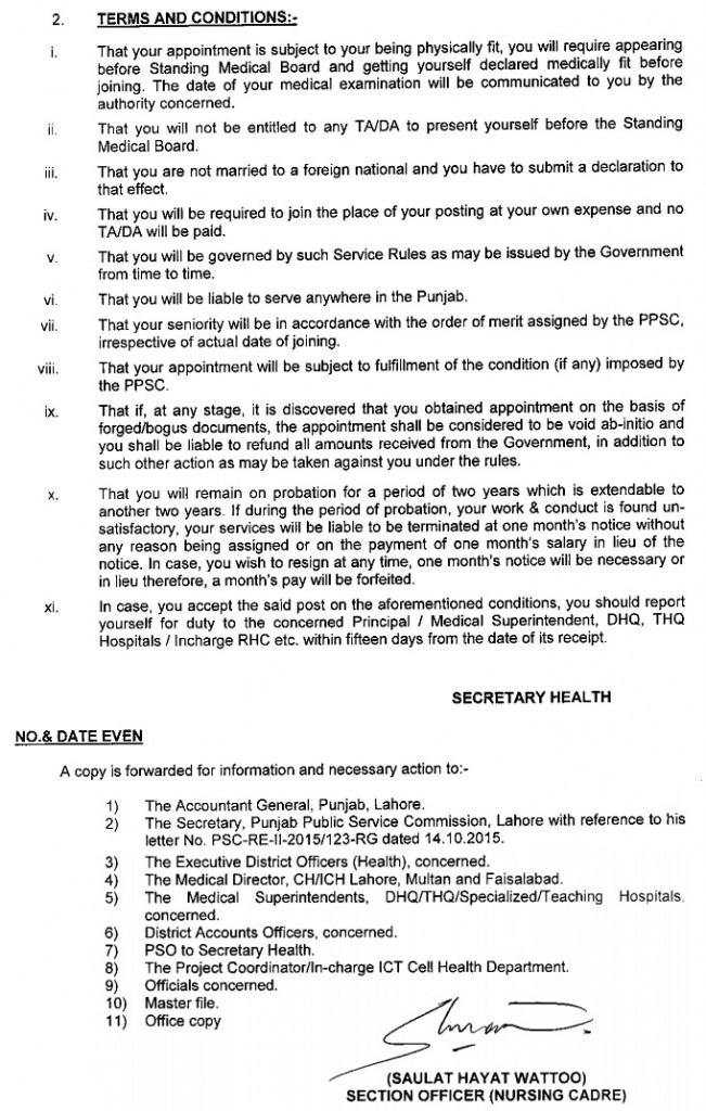 Head Nurses Orders in Punjab Terms and Conditions