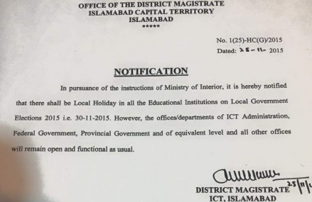 Local Holiday Notification in Islamabad on Monday 30-11-2015  for LG Election Polling