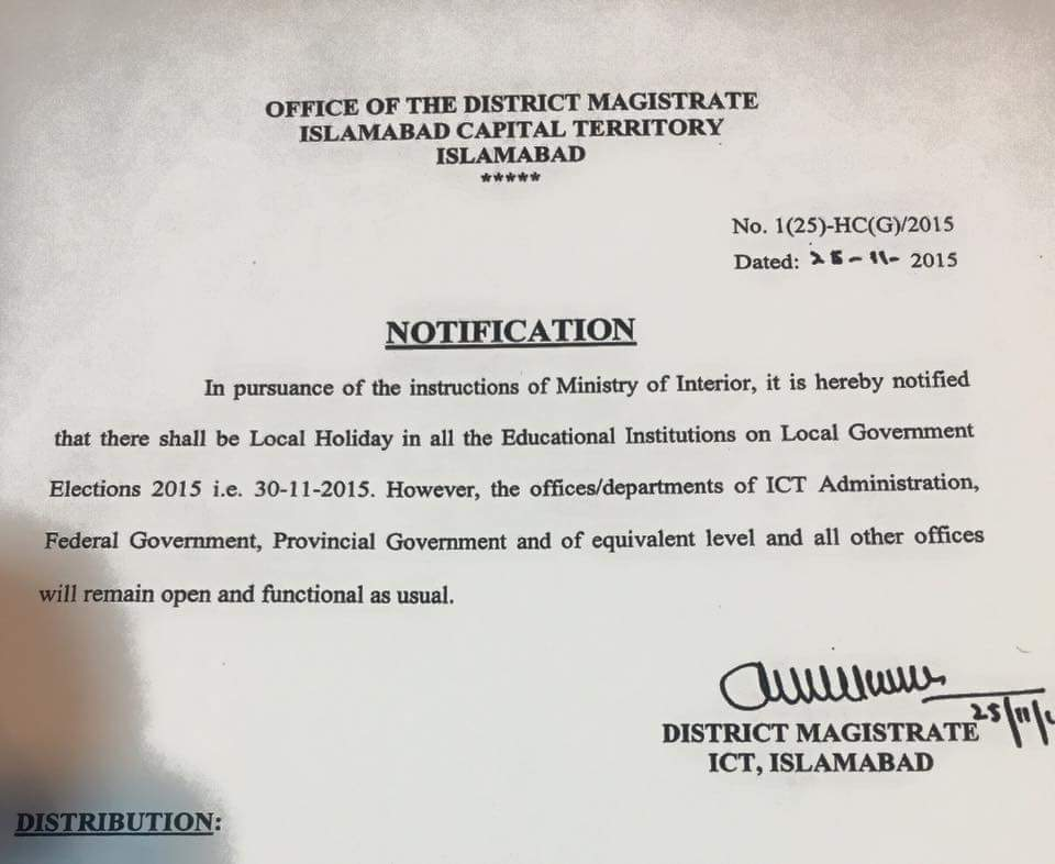 Public Holiday Notification in Islamabad on Monday 30-11-2015 LG Election Day
