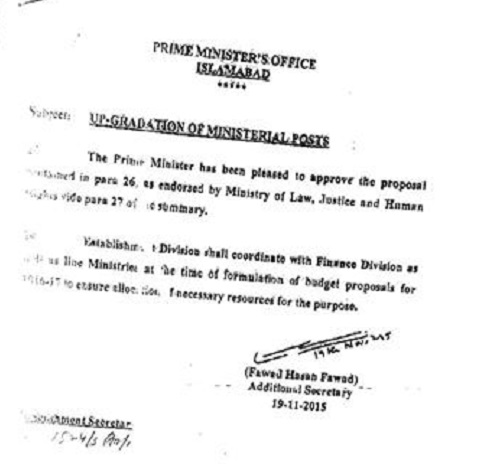 Prime Miniuster approved proposal of upgradation of Clerical Posts