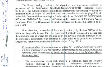 Sindh Govt Notification of Minimum Wages for Workers 2015