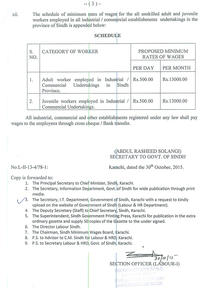Sindh Govt Notification of Minimum Wages for Workers 2015 c