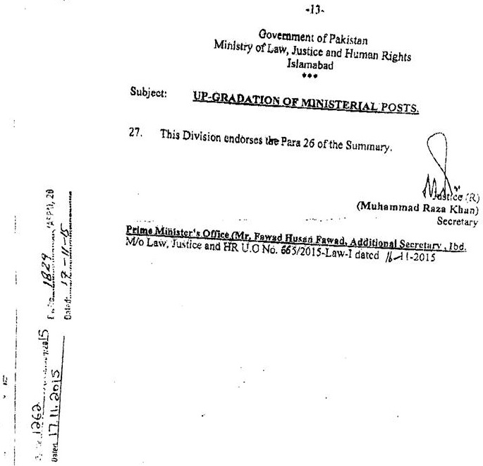 Upgradation of Ministerial Posts - Ministry of Law Justice and Human Rights Approval