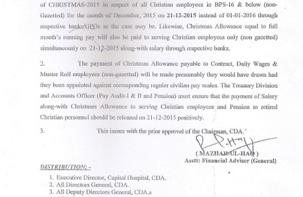 CDA Notification of Christmas Allowance 2015 and Advance Pays and Pensions for Christian Employees