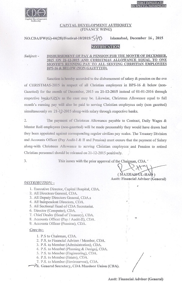 CDA Notification of Christmas Allowance and Advance Pays and Pensions for Christian Employees