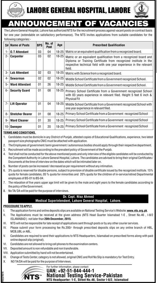 Vacancy/Posts/Jobs in Lahore General Hospital Lahore