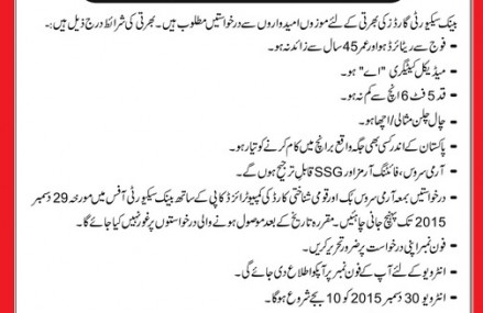 Jobs in Punjab Bank (BoP) for Security Guards