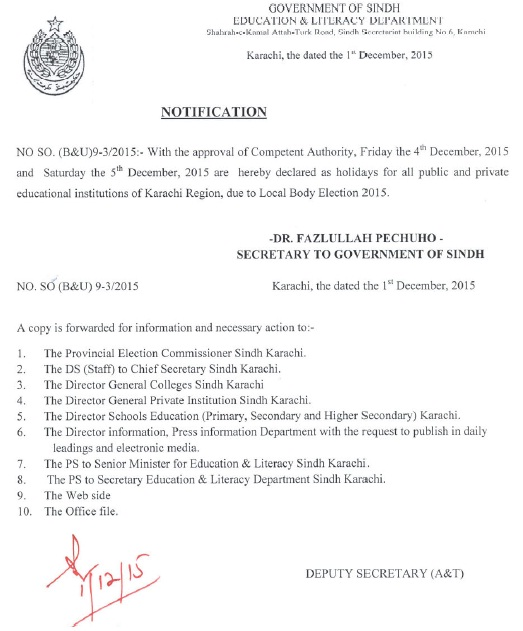 Karachi Education and Literacy Department Announced Two Days Holiday on LG Election in Karachi