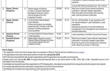 PEF Jobs for PSSP Program through NTS