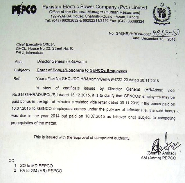 PEPCO Notification Grant of Bonus to GENCOs Employees Dated 18-12-2015 b