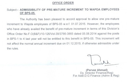 Premature Increment Notification of WAPDA Employees working in Grade 5