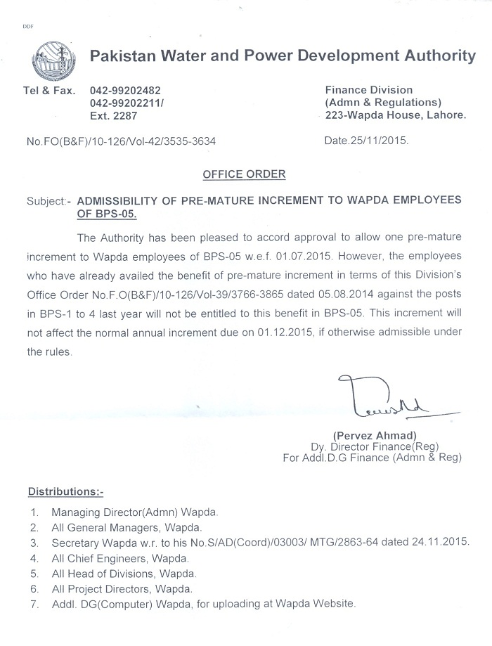 Premature Increment for WAPDA Employees working in Grade 5 - Notification issued on 25-11-2015