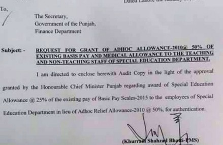 Adhoc Allowance for Punjab Special Education Department Employees