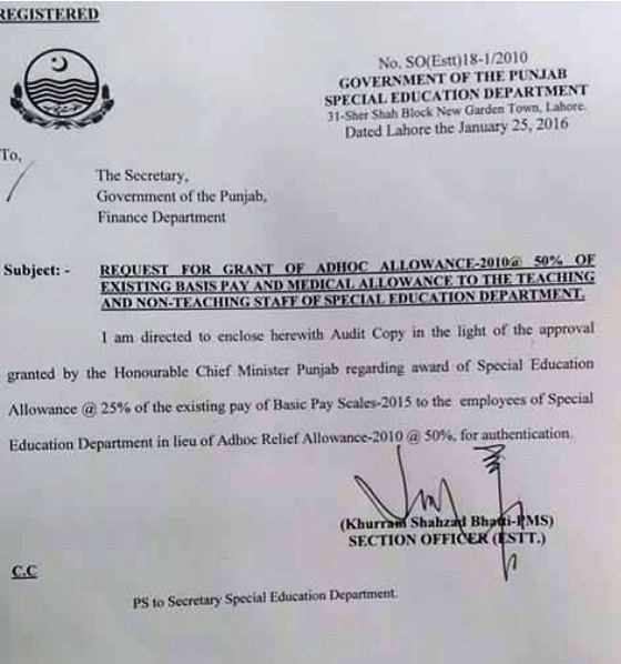 Adhoc Allowance for Punjab Special Education Department