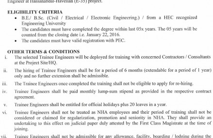 Jobs for Trainee Engineers in NHA