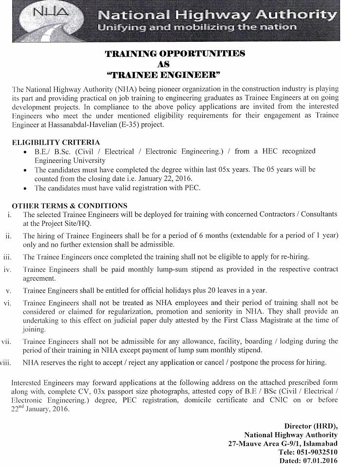 Apply for Trainee Engineer in NHA - Last Date 22-01-2016
