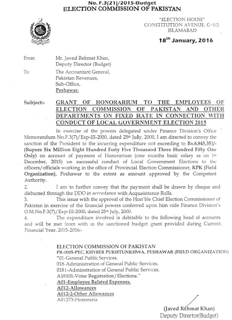 Grant of Honorarium to ECP Employees for conducting Local Govt Elections 3