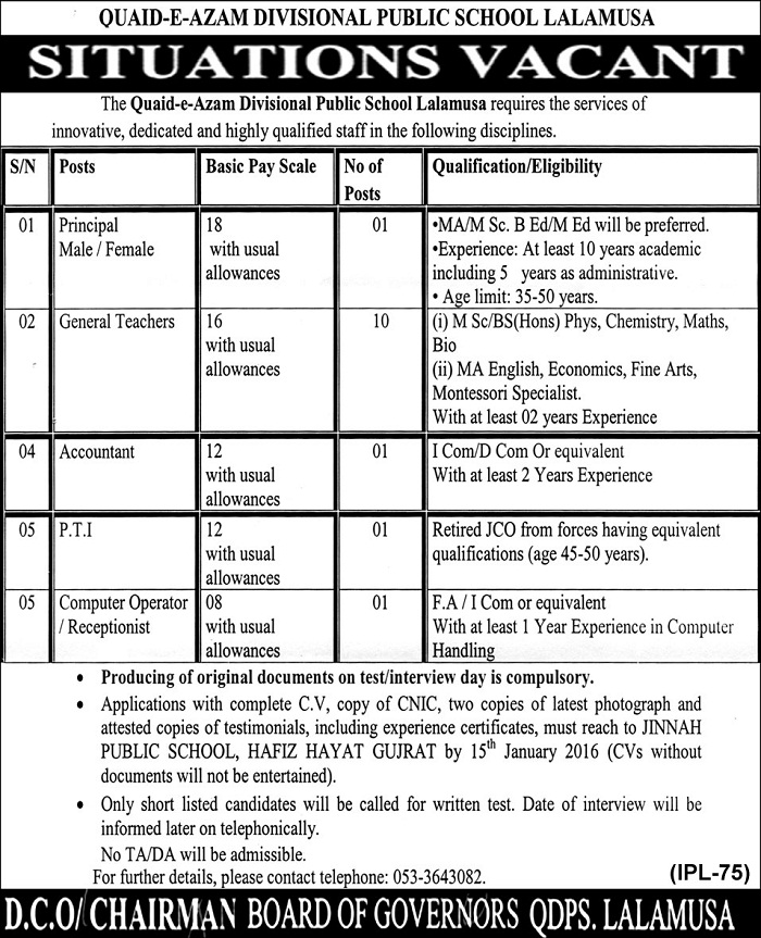 Jobs in QDPS Lalamusa District Gujrat