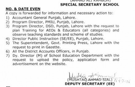 Punjab Educators Jobs District Wise Detail and Recruitment Policy 2016