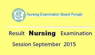 Punjab Nursing Result September 2015 - NEBP