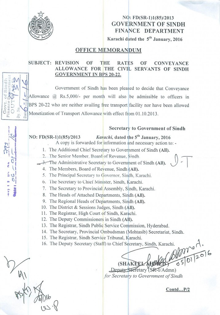 Sindh Notification of Revision of Conveyance Allowance for Employees Working in Grade 20 to 22