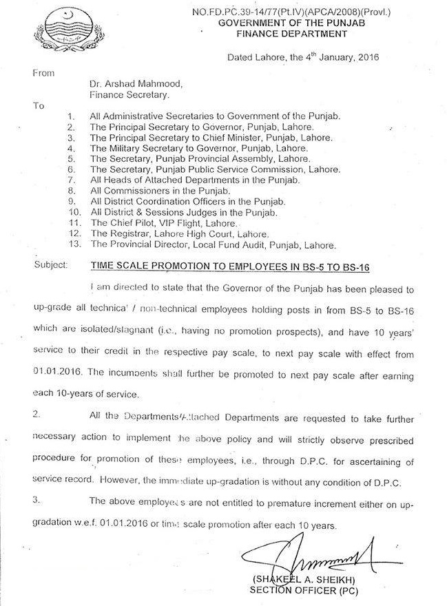 Time Scale Promotion and Upgradation Notification for Punjab Govt Employees 2016