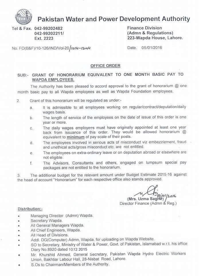 WAPDA Notification of One Month Basic Pay Equal Bonus 2016