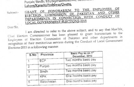 ECP Announced Honorarium Grant for Employees on Conducting Local Body Elections 2015