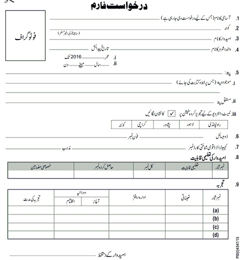 Application Form for Jobs in Survey of Pakistan