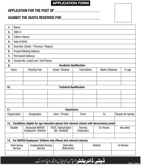 Application Form for Jobs in WAPDA Warsak Hydal Power Station