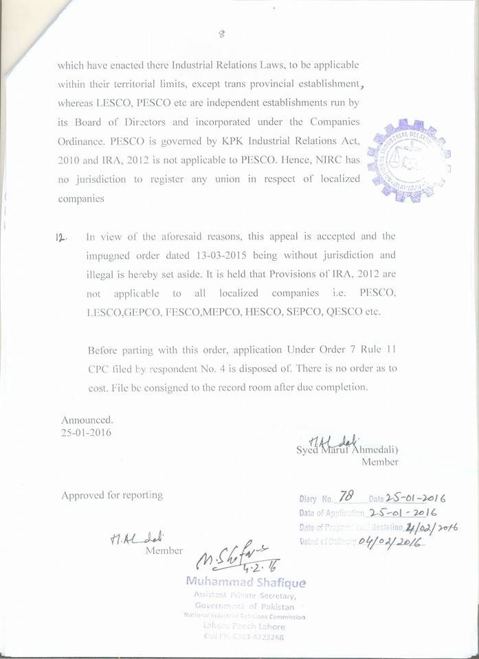 NIRC Judgement dated January 25, 2016 about Wapda Union h