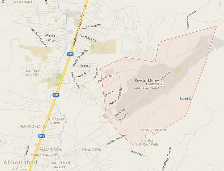 PMA Kakul Abbottabad Location Map