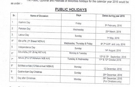 Annual Public Holidays Notification 2016